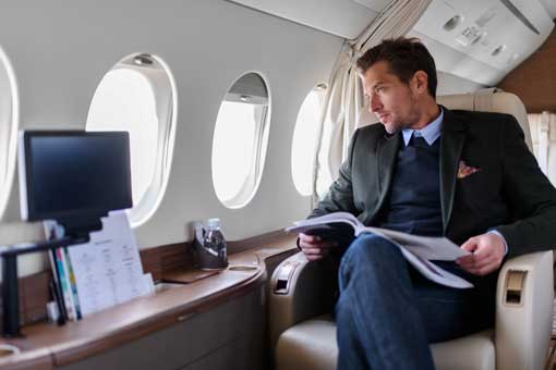 Wealthy Man on a Private Plane